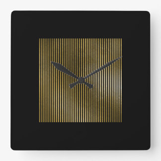 Black Gold Stripes Sepia Minimal Name Geometry Lux Square Wall Clock