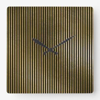 Black Gold Stripes Sepia Minimal Name Geometry Square Wall Clock