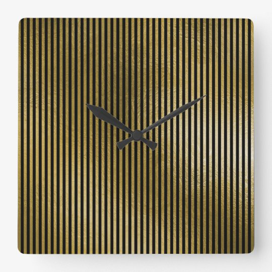 Black Gold Stripes Sepia Minimal Name Geometry Square Wall Clock