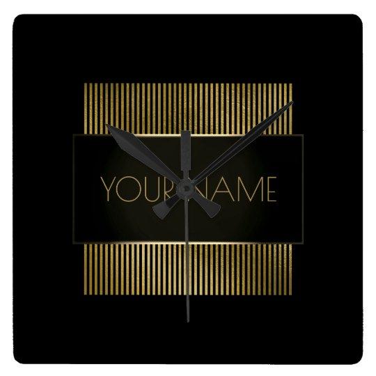 Black Gold Stripes Urban Minimal Name Geometry Lux Square Wall Clock