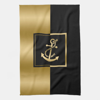 Black & Gold Stripes With Nautical Boat Anchor Tea Towel