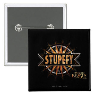 Black & Gold Stupefy Spell Graphic 15 Cm Square Badge