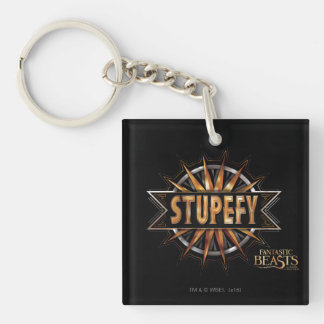 Black & Gold Stupefy Spell Graphic Double-Sided Square Acrylic Key Ring