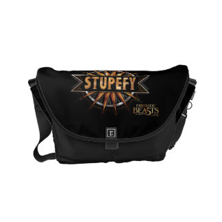 Black & Gold Stupefy Spell Graphic Messenger Bag