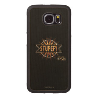 Black & Gold Stupefy Spell Graphic Wood Phone Case