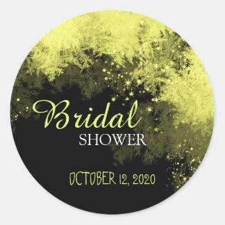 Black & Gold Stylish Forest Bridal Shower Round Sticker
