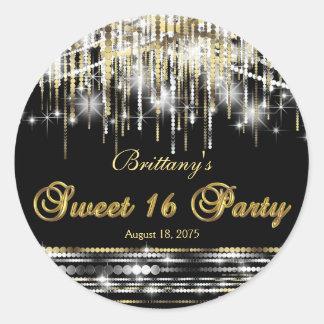 Black Gold Sweet 16 Classic Round Sticker