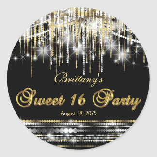 Black Gold Sweet 16 Round Sticker