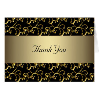 Black Gold Swirl Gold Thank You Cards