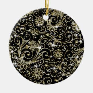 Black & Gold Swirls Ceramic Ornament