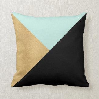 Black Gold & Teal Modern Graphic Throw Pillow