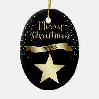 Black Gold Texas Star Ceramic Ornament