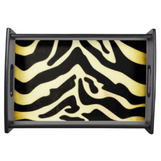 Black Gold Tiger Pattern Print Design Serving Tray