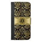 Black & Gold Tones Floral Damasks iPhone 6/6s Plus Wallet Case
