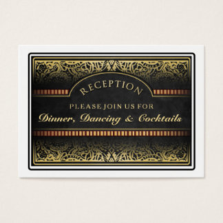Black & Gold Vegas Wedding Matching RSVP Card