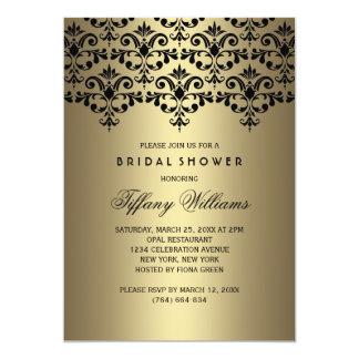 Black & Gold Vintage Damask Bridal Shower Invite