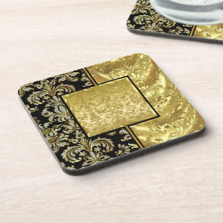 Black & Gold Vintage Floral Damask Pattern Drink Coasters
