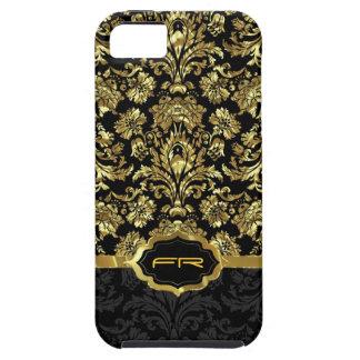 Black & Gold Vintage Floral Damasks 2 Monogramed Tough iPhone 5 Case