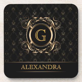 Black & Gold Vintage Frame Design 4-Monogram Coaster