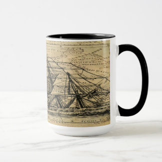 Black Gold Vintage Nautical Compass Manly Classy Mug