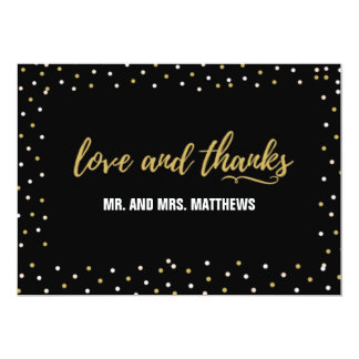 Black Gold Wedding Love and Thank You Card
