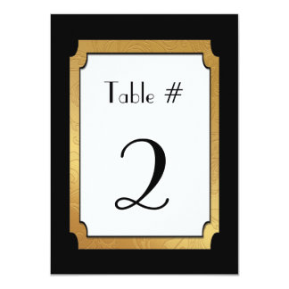 Black & Gold Wedding Wedding Table Number Card