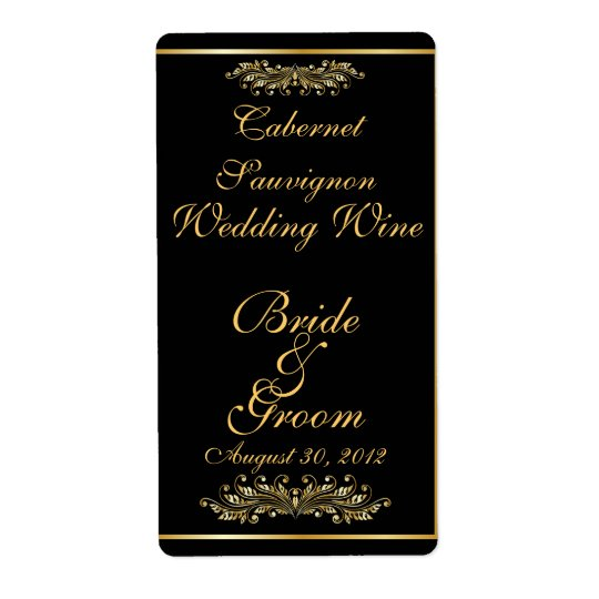 Black & Gold  Wedding Wine Label