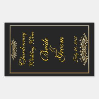 Black Gold Wedding Wine Label Sticker Rectangular Sticker