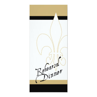 Black Gold White Fleur de Lis Rehearsal Dinner Card