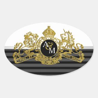 Black Gold White Lion Unicorn Emblem Monogram Oval Sticker