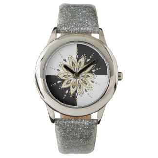Black gold & white mandala geometric design watch