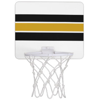 Black & Gold White Strip Design Mini Basketball Hoop