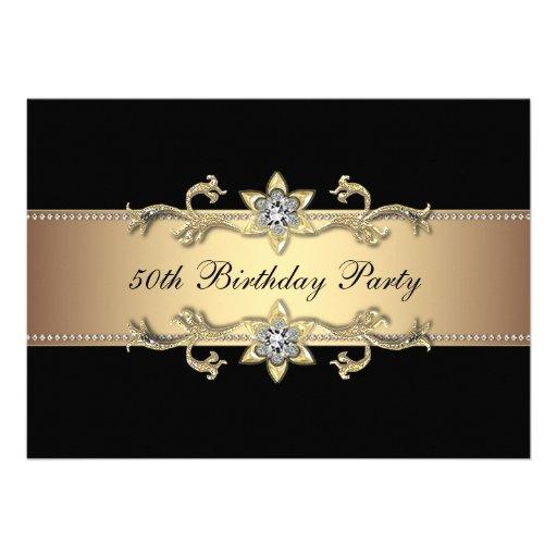 Black Gold Womans 50th Birthday Invitation
