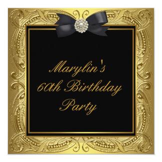 Black Gold Womans 60th Birthday Party 13 Cm X 13 Cm Square Invitation Card