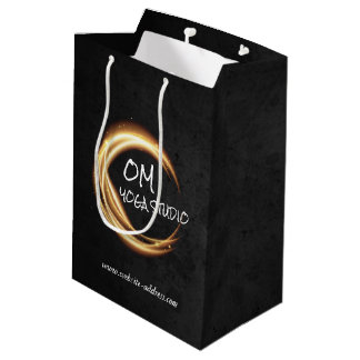 Black & Gold YOGA Studio Massage Therapy ZEN Sign Medium Gift Bag
