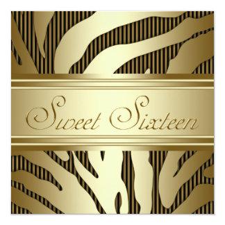 Black Gold Zebra Sweet Sixteen Birthday Party Custom Invitations