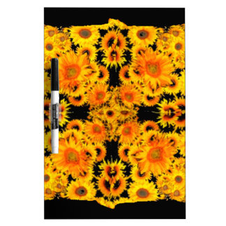 Black-Golden Sunflowers Patterned GIFTS Dry Erase Whiteboard