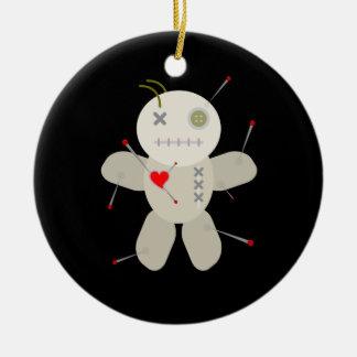 Black Goth Voodoo Doll Christmas Ceramic Ornament