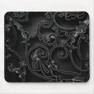Black gothic baroque swirl pattern mouse pad
