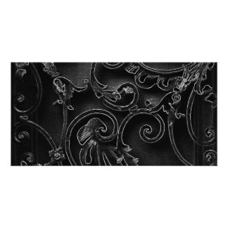 Black gothic baroque swirl pattern customized photo card