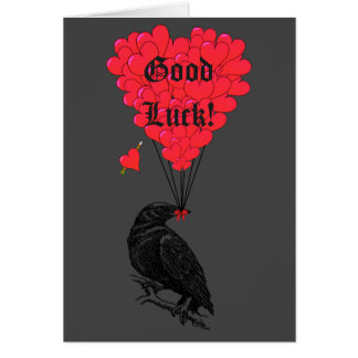 Black gothic crow  and romantic heart good luck card
