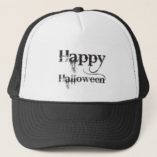 Black Gothic Happy Halloween Typography Trucker Hat
