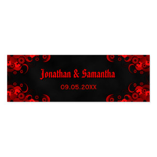 Black Gothic Red Floral Custom Wedding Favor Tags Pack Of Skinny Business Cards