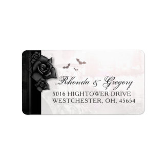 Black Gothic Roses & Bats Wedding Address Label