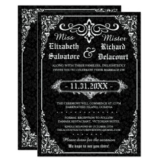 Black Gothic Victorian Damask Wedding Invites