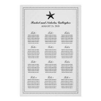 Black Graceful Starfish 24 x 36 Seating Chart Poster