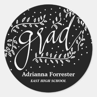 Black Grad Typography Whimsical Round Sticker