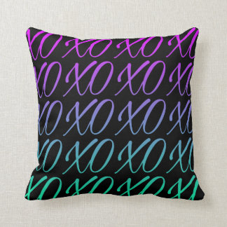 Black Gradient Hugs & Kisses Throw Pillow