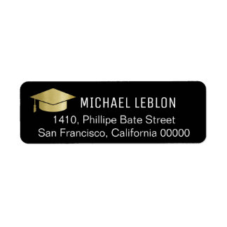 black graduation address label with name