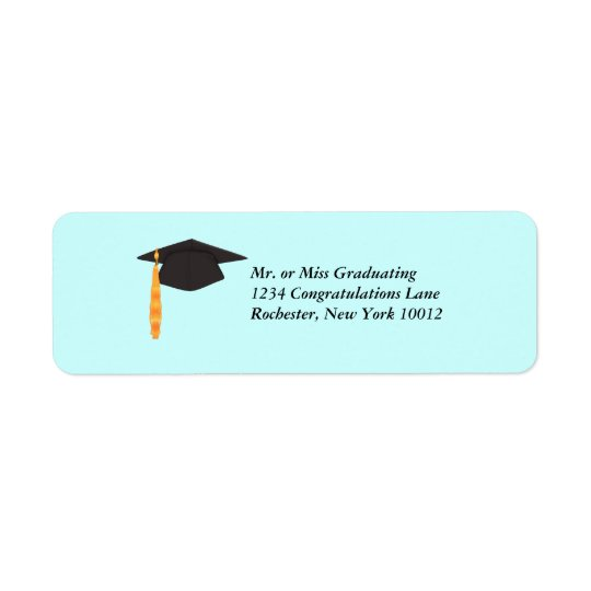 Black Graduation Cap Graduation Address Labels